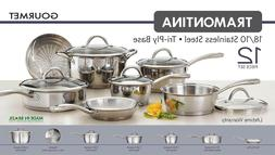12 Piece Tramontina Gourmet Stainless Steel Tri-Ply Base Coo