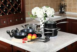 Kitchen Academy 15Pcs Cookware Sets Nonstick Granite Cooking