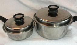 2 Amway Queen 18/8 3-ply Stainless Waterless Cookware Sauce