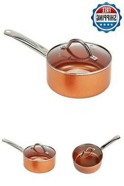2.5 Quart Sauce Pan With Lid Glass Nonstick Stainless Saucep