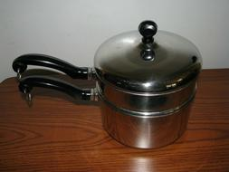FARBERWARE 2qt Saucepan + Double Boiler with Lid  Stainless