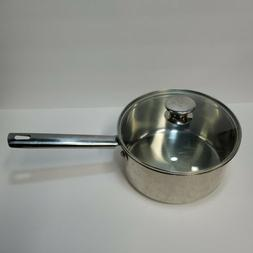 Wolfgang Puck 3 Qt Sauce Pan Pot w/ Glass Lid 18/10 Stainles