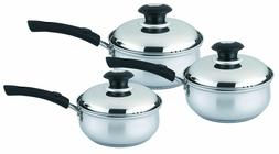 6 Pieces Stainless Steel Saucepan Set with Glass Lid