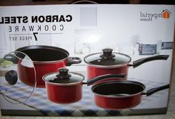Imperial Home~7 Piece Carbon Steel Cookware Set ~Red w/see t