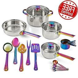 COOKWARE SET  with Kitchen Utensil Iridescent Stainless Stee