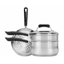 Double Boiler and Steamer with Lid in Stainless Steel