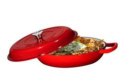 Enameled Cast Iron Casserole Braiser - Pan with Cover, 3.8-Q