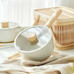 NEOFLAM FIKA Sauce Pan for Stovetops and Induction, Wood Han