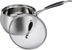 ELITRA Home Stainless Steel Sauce Pan & Glass Lid for All St