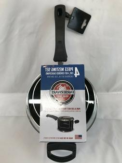 Farberware NeatNest 2Qt and 4Qt Covered Saucepans Stacking C