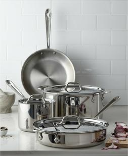 New All-Clad Stainless Steel 7-Pc. Cookware Set -MADE IN USA