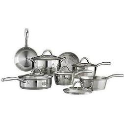 Stainless Steel 12 Piece Tri-Ply Clad Cookware Set Silver Go