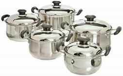 Stainless Steel Cookware Set Pots Sauce Pans 10 Pieces, Silv