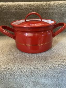 Vintage Enamel Ware Red Sauce Pan With Lid And Handles